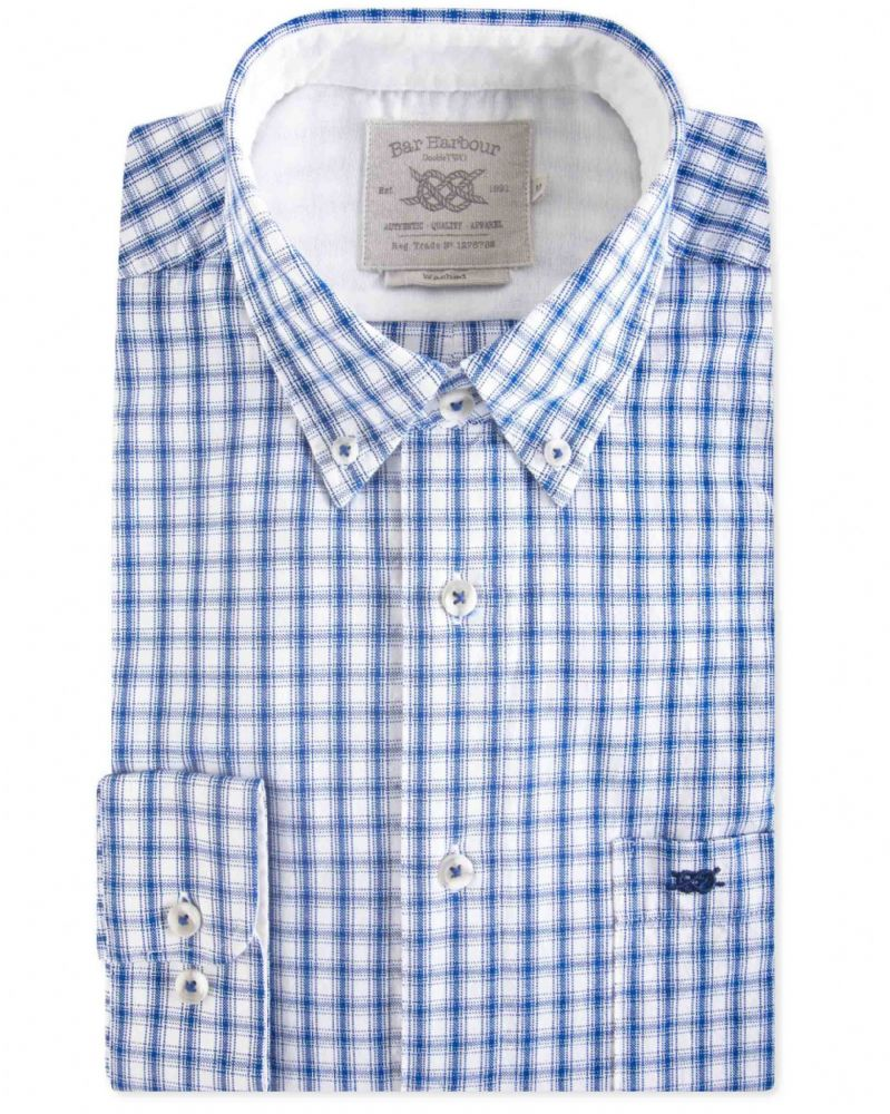 BAR HARBOUR  EDDIE CASUAL CHECK SHIRT - BLUE